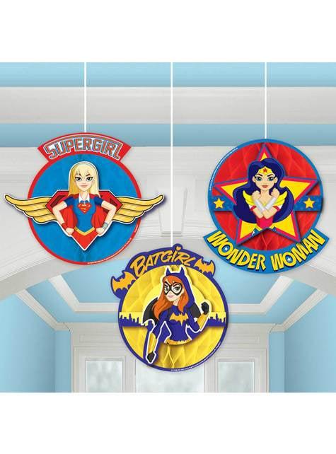 Conjunto de 3 decorações pingentes de favo de mel DC Super Hero Girls