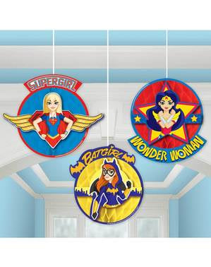Set of 3 DC Super Hero Girls decorations hanging from honeycomb paper