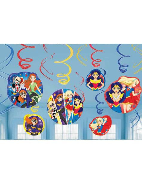 Conjunto de 12 enfeites pingentes DC Super Hero Girls