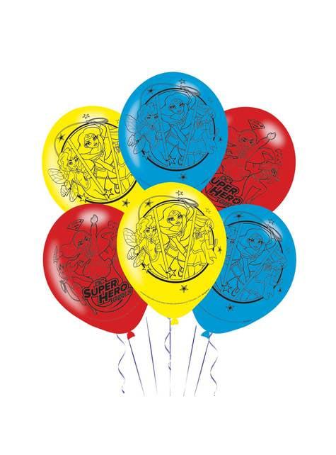 Set de 6 globos de latex rojos, amarillos y azules de DC Super Hero Girls