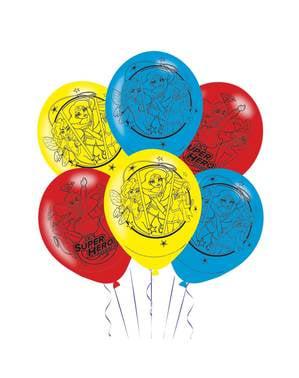 Sett med 6 rød, gul og blå DC Superhelt Jenter latex ballonger