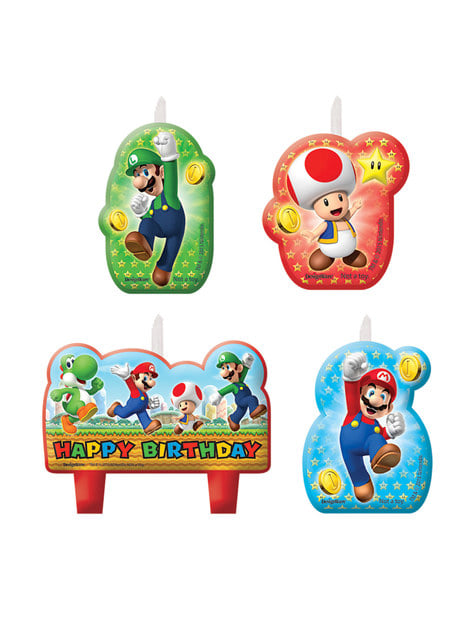 4 Super Mario Bros candles (5,5 - 7,8 cm)