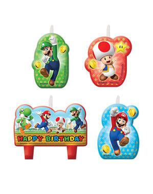 4 Super Mario Bros kaarsen (5,5 - 7,8 cm)