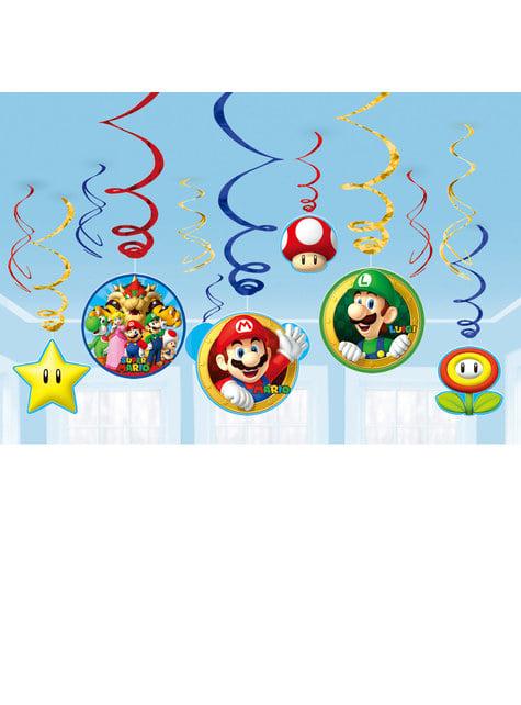 Conjunto de 12 enfeites pingentes de Super Mario Bros