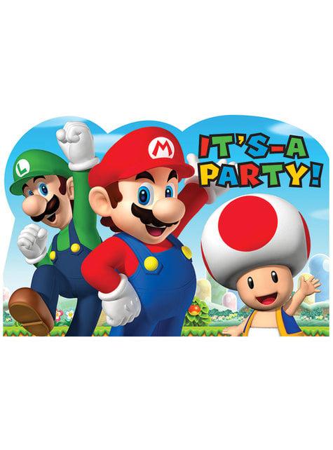 8 Super Mario Bros invitations
