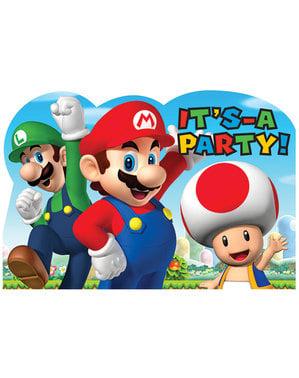 Sett med 8 Super Mario Bros invitasjoner