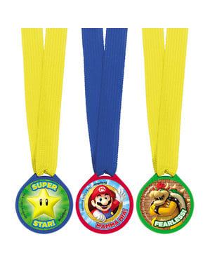 Sett med 12 Super Mario Bros medaljer