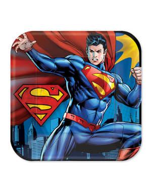 Sæt af 8 store supermand tallerkner