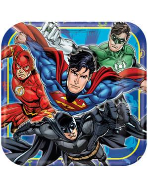 Sett med 8 store The Justice League tallerkener