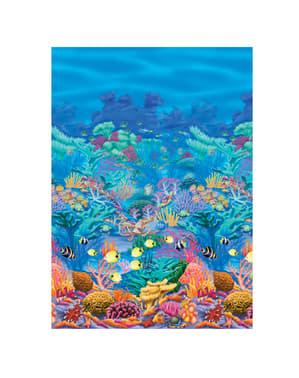 Havaiji -tyylinen koristetapetti korallinvärisellä taustalla
