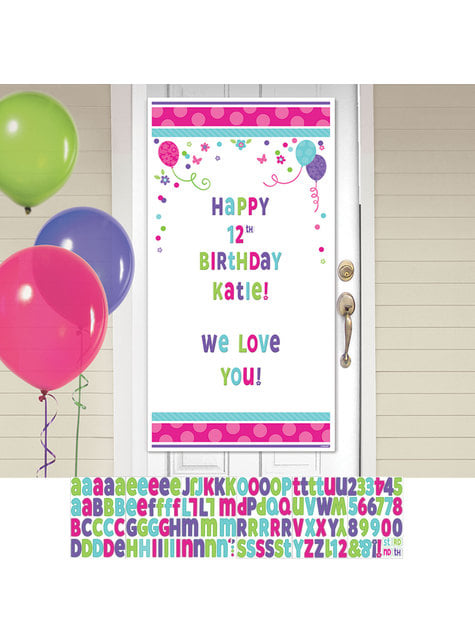 Customizable Birthday Door Banner With Flowers and Balloons