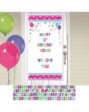 Aanpasbare verjaardags deur slinger met bloemen en ballonnen