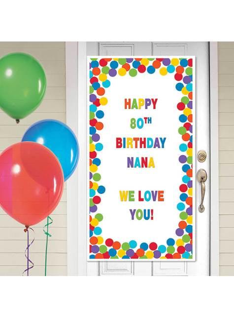 Cartel personalizable cumpleaños para puerta decoración con lunares multicolor
