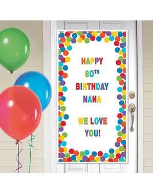Personalizowany banner urodzinowy na drzwi w różnokolorowe kropki
