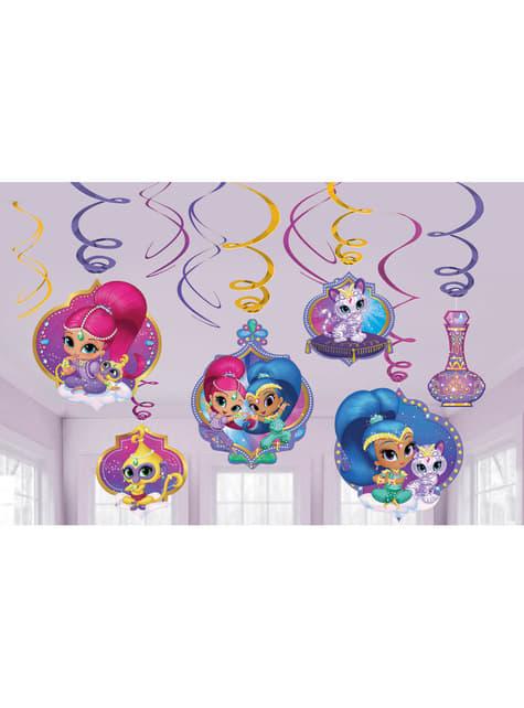Set de decoración de 12 piezas colgantes de Shimmer y Shine