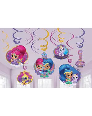 Zestaw dekoracyjny 12 dekoracji wiszących Shimmer i Shine