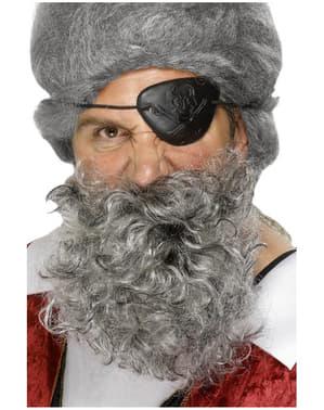 Barba de pirata gris