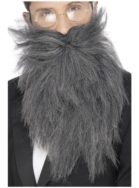 Lange grijze baard en snor