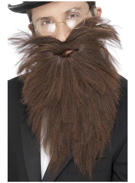 Barbe longue et moustache marron