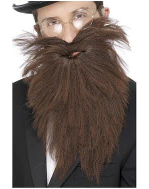 Långt brunt skägg med mustasch