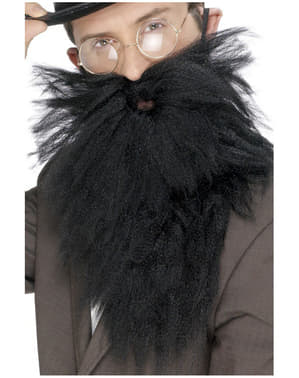 Langer Bart und Schnurrbart Schwarz