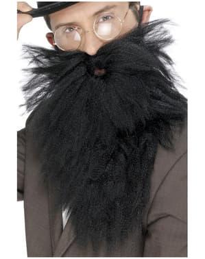 Långt svart skägg med mustasch