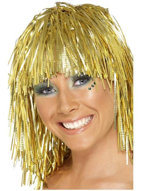 Disco Perücke Lametta Gold