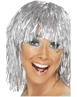 Disco Perücke Lametta Silber