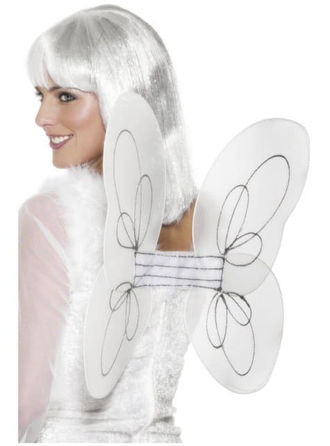 Alas de ángel blancas con brillantina