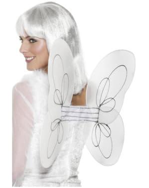 Asas de anjo brancas com brilhantina