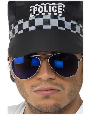 Blaue Flieger Brille mit Spiegelglas