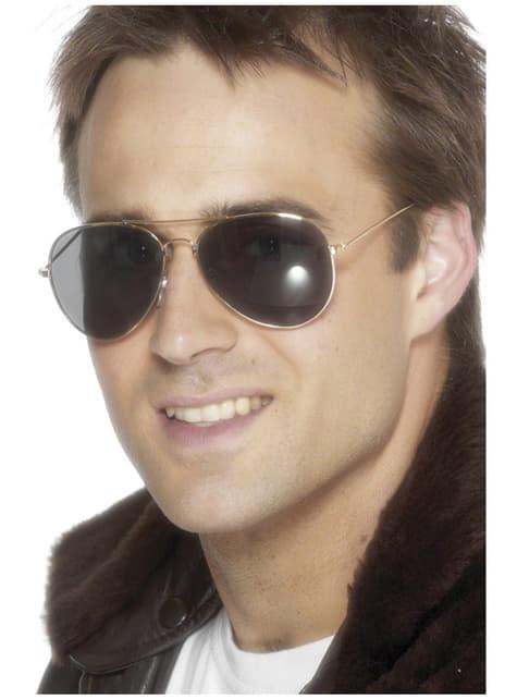 Óculos de aviador dourados