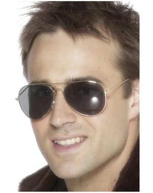 Óculos de aviador prateados
