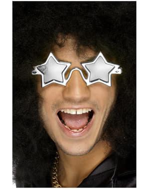 Sølvfarvede superstjerne briller