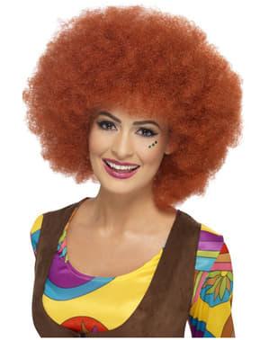 Perruque afro des années 60 châtain rouge