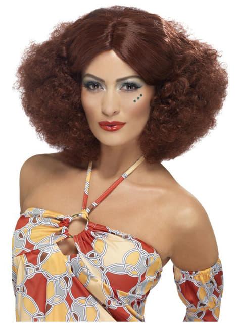 Perruque afro des années 70 châtain rouge