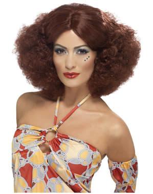 Parrucca afro anni 70 rosso castano