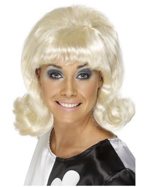 Perruque blonde en forme de coupe des années 60