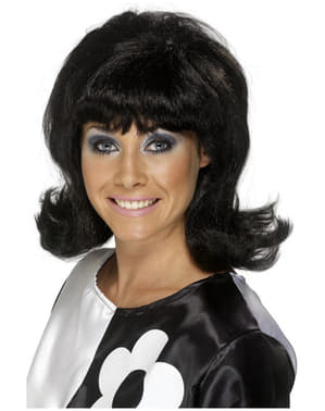 Fluffed-out Black Wig 60s