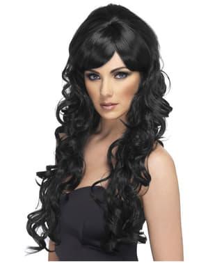 Perruque longue noire bouclées