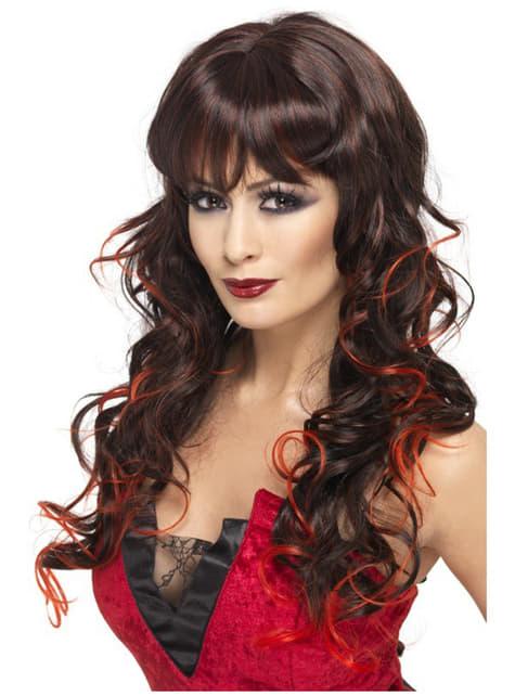 Peluca de bruja negra y roja