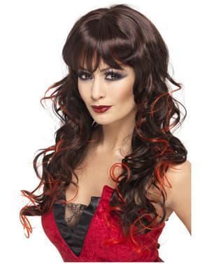 Perruque noire et rouge de sorcière