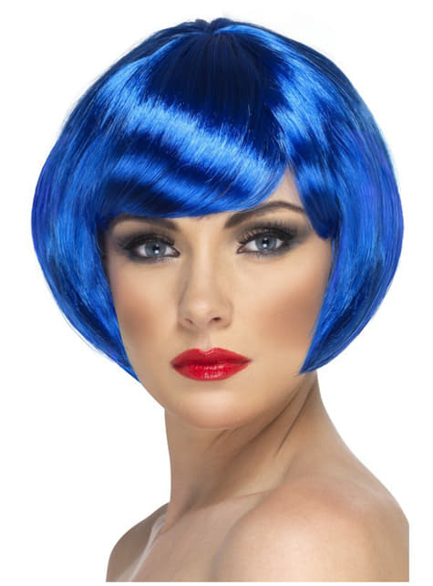 Peluca de chica bonita azul