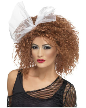 80s Style Brown Wig with Bow
