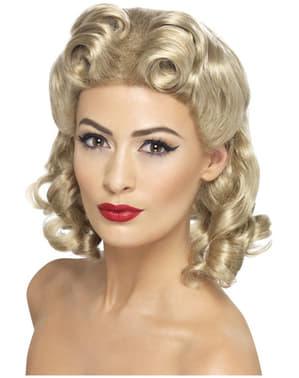 Krullende blonde 40's pruik