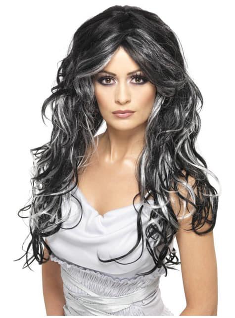 Perruque d'épouse gothique grise et noire