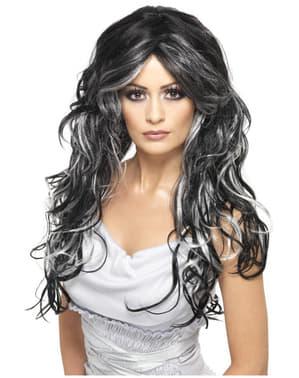 Peluca de novia halloween negra y gris