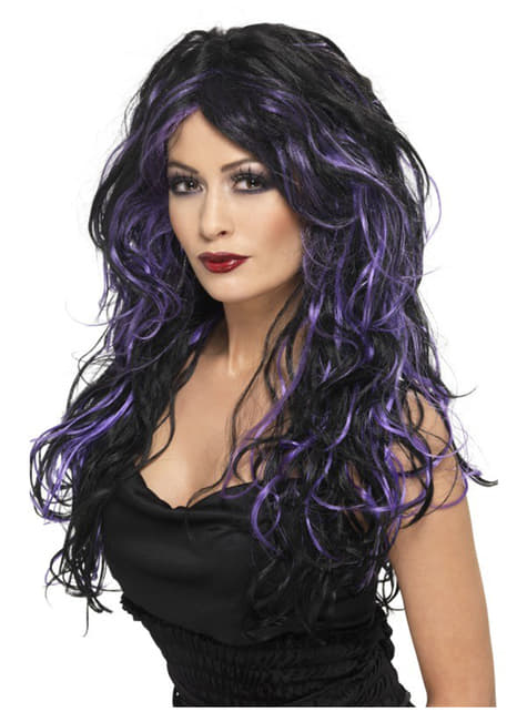 Perucă de mireasă de Halloween negru și violet