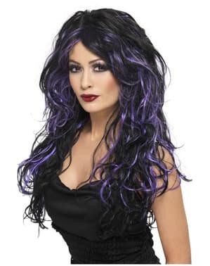 Zwart en paarse Halloween bruid pruik