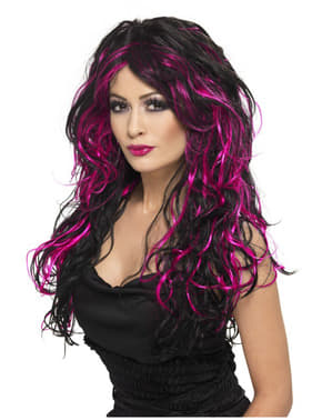 Black and Pink Halloween Bride Wig